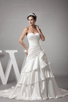 Elegant Sweetheart Pleat Bow Detail Drop Waist Satin Wedding Dress