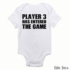 Player 3 Has Entered the Game, Gamer Baby, Video Game Baby Clothes, Nerd