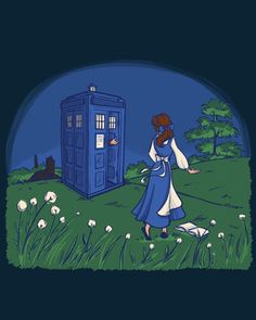 """""""Adventure in the Great, Wide Somewhere"""" features Beauty in a field of dreams with the Blue Box. Beauty And The Beast Artwork, Day Of The Shirt, Nerdy Shirts, Enchanted Rose, Blue Box, Adventure Awaits, Disney Trips, Tardis, The Funny"""