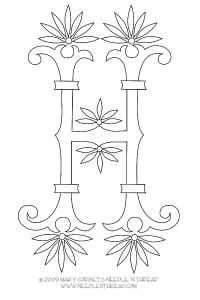monogram for hand embroidery fan flower h