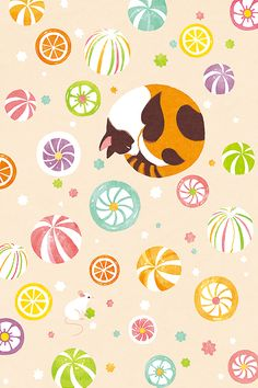 candy and cat © shino All rights reserved. Cat Wallpaper, Kawaii Wallpaper, Pattern Wallpaper, Surface Pattern Design, Pattern Art, West Art, Origami, Cat Pin, New Sticker