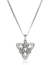 Sterling Silver Oxidized Celtic Triquetra Trinity Knot Triangle Pendant Necklace, 18' -- Details can be found by clicking on the image.