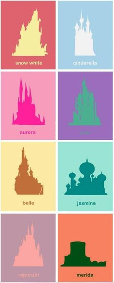 Disney princess castles - Also notice, that they are arranged in order, of first princess Snow White, to the most recent princess, Merida.
