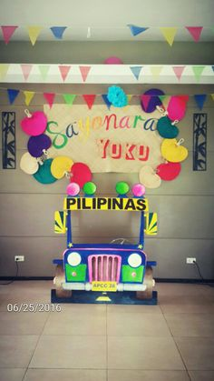 """Maybe we can do the jeepney like this? that way people can be """"driving"""" and like leaning out and stuff :D Fiesta Theme Party, Party Themes, Xmas Party, Diy Party, Paskong Pinoy, Japanese Party, Fiesta Decorations, 70th Birthday Parties, Filipino"""