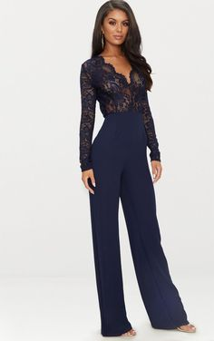 31873ac0030f Stepping Out Navy Blue Sleeveless Wide-Leg Jumpsuit in 2018 ...