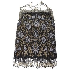 1920s Sterling Rare Black Gold Gray Baroque Style Beaded bag