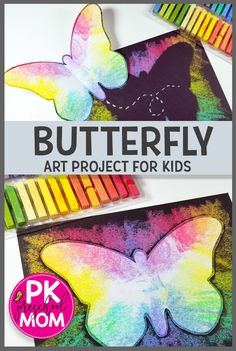 Butterfly Art Project for Kids! This free butterfly template and photo tutorial … Butterfly Art Project for Kids! This free butterfly template and photo tutorial make this a simple butterfly craft your students will love. Diy Crafts Butterfly, Butterfly Project, Butterfly Kids, Simple Butterfly, Butterfly Mobile, Preschool Art Projects, Animal Art Projects, Preschool Crafts, Projects For Kids