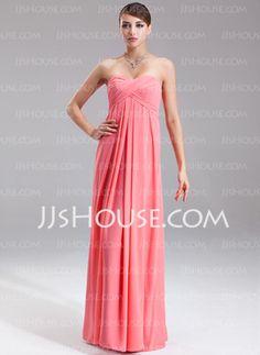 Empire Sweetheart Floor-Length Chiffon Evening Dress With Ruffle (017002551)