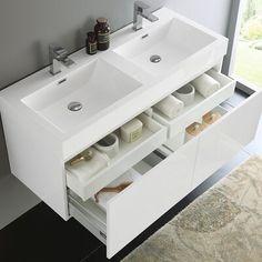 Fresca Mezzo 48 White Wall Hung Double Sink Modern Bathroom Vanity with Medicine Cabinet Double Sink Bathroom, Small Double Sink Vanity, Modern Bathroom Sink, Master Bathrooms, Modern Faucets, White Bathroom Furniture, Oak Bathroom, Eclectic Bathroom, Minimal Bathroom