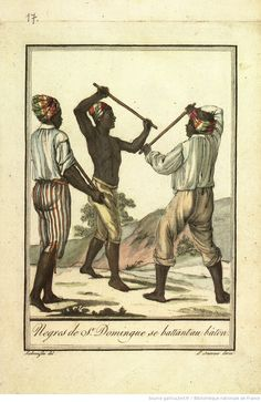 [pl.17 en reg. p.4 : Saint-Domingue.] Nègres de Saint-Domingue se battant au bâton. [cote : Réserve F 24 G76 1796]