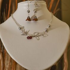 Set of 2 Leaf and Sparrow Statement   Necklace and  by BeadsStory, $38.00