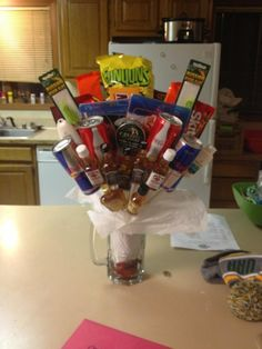 "Sister made this for her boyfriend. It's a ""bro""quet"