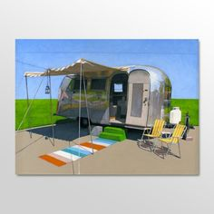 love this little painting. i want an airstream so badly!