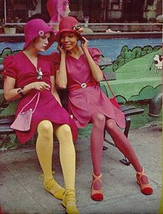 1970s Vintage Fashion.This 1970,s fashion shot shows that everything comes back. This is Pantone's color of the year for 214 Radiant Orchid