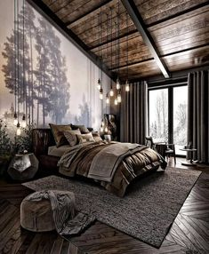 For those looking to make their bedroom look good, adopting a modern bedroom design style isn't actually a bad idea. Here are some easy ways you can redo your bedroom Design bedroom Easy Ways To Remodel A Modern Bedroom + 50 HD Pictures - House Topics Design Living Room, Modern Bedroom Design, Modern Room, Home Interior Design, Bedroom Designs, Modern Bedrooms, Modern Cabin Interior, Dark Bedrooms, Log Cabin Bedrooms