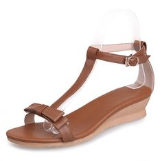 WeenFashion Women's Cow Leather Solid Buckle Open Toe Low-Heels Wedges-Sandals with Bows * Want to know more, click on the image.
