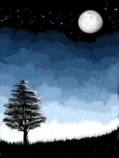 Moonlit Tree #fridayswithsketch #landscapechallenge #moon #night