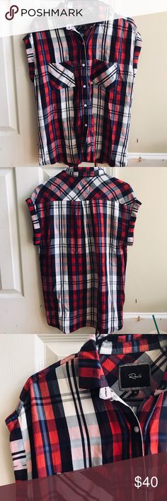 Rails Plaid Flannel Top Size xs, loose fit, new without tags Rails Tops Button Down Shirts