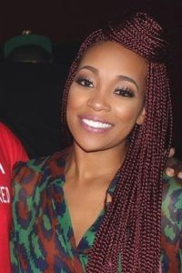 Red Box Braids Updo