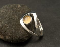 Solid Sterling SIlver Citrine Ring Round Citrine Ring Made to