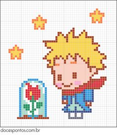 pixel art Crochet (c - art Hama Beads Patterns, Beading Patterns, Embroidery Patterns, Cross Stitching, Cross Stitch Embroidery, Cross Stitch Patterns, Pixel Art, Art Perle, Motifs Perler