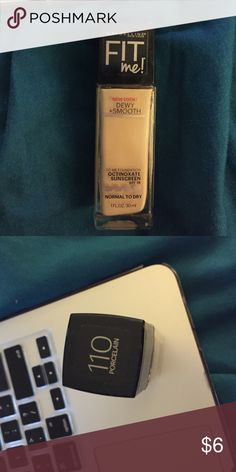 Maybelline fit me dewy and smooth foundation Shade 110 porcelain, lightest shade, spf 18 Maybelline Makeup Foundation