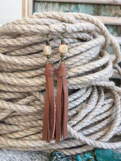 Boho Tassel Earrings - Genuine Leather Fringe Tassel in Brown with Riverstone Beads - Lightweight Bo Diy Earrings, Leather Earrings, Tassel Earrings, Leather Jewelry, Leather Fringe, Leather Cord, Leather Hides, Brown Leather, Jewelry Making