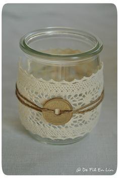 Etsy - Shop for handmade, vintage, custom, and unique gifts for everyone Crafts With Glass Jars, Mason Jar Crafts, Bottle Crafts, Mason Jars, Recycled Tin Cans, Recycled Glass, Lace Jars, Deco Champetre, Diy Home Crafts