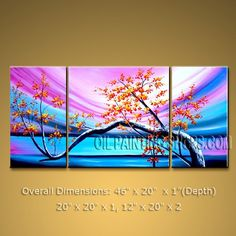 """Enchanting Tri-Panel Wall Art for Bedroom Contemporary Plum Blossom 46"""" x 20"""" #2099 
