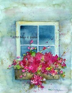 Window Box Floral by BrianPayneArt on Etsy