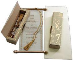 Unique Quinceanera Invitations, designer quincenera invitations, high-end sweet 15 scroll invitations & cards