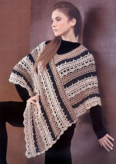 crochet pattern for poncho | Crochet Striped Poncho by Luba Davies | Crocheting Pattern, long rectangle