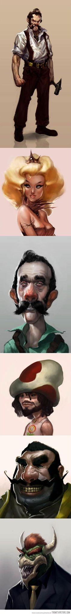 Realistic Mario characters