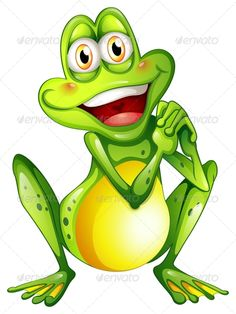 Buy A Cheerful Green Frog by interactimages on GraphicRiver. Illustration of a cheerful green frog on a white background Frosch Illustration, Family Illustration, Cute Illustration, Funny Frogs, Cute Frogs, Frog Drawing, Frog Art, Green Frog, Frog And Toad