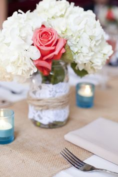 Mason jars + lace | Santa Barbara Sunset Cruise Wedding | MoHa Photography
