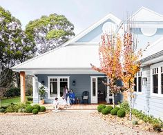 Timeless colour schemes, aged timbers and antiques all imbue this new home in the NSW Southern Highlands with real character. Mcm House, Facade House, House Facades, Weatherboard House, Queenslander, Exterior House Colors, Exterior Paint Colours, House Paint Exterior, Edwardian House