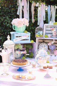 Baby partyscape from Shabby Chic Alice in Wonderland Baby Shower at Kara's Party Ideas. See the whole party at karaspartyideas.com!