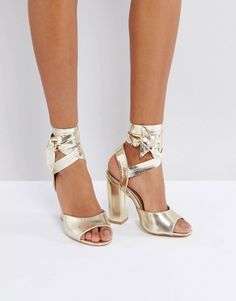 Lost Ink Metallic Gold Ankle Tie Heeled Sandals Ankle Wrap Sandals, Heeled  Sandals, Gold 953da4bc7757