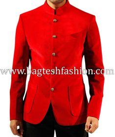 Stylish Mens Red Velvet Coat