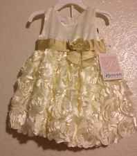 Bonnie Jean Baby Girls Gold Floral Pageant Christmas Holiday Dress 12M New