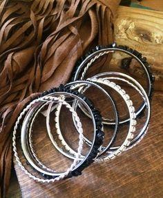 Black Stone Multi Bangle Bracelet Set