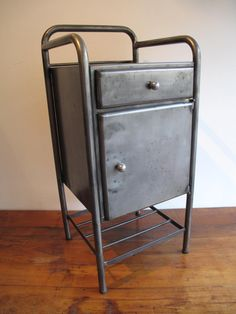 Retro French Hospital Cabinet - Table - trolley- Industrial - Vintage - Metal Storage - medical - dentist -