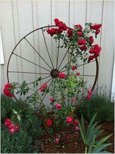 Steel wheel flower ideas