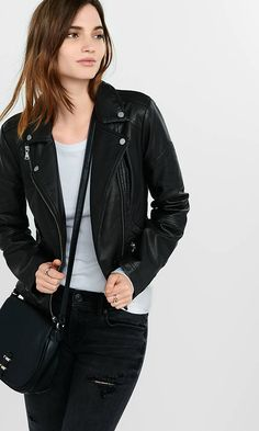 Zip Detail (minus The) Leather Moto Jacket from EXPRESS