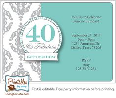 Elegant 40th Birthday - Printable Party Invitation