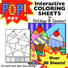 "Fun, ""pop art"" inspired, interactive coloring sheets for all occasions! Over 80 different designs for all holidays and seasons. A happy customer writes: ""Love this product. My high school kids enjoy these sheets after finishing a test. It gives them a great ""brain break"" while allowing them to be creative!"""