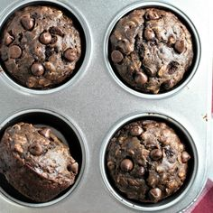 Double Chocolate Banana Oatmeal Muffins on MyRecipeMagic.com