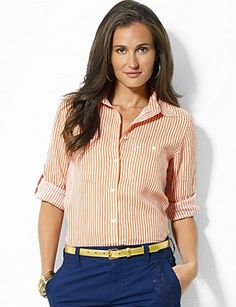 LAUREN RALPH LAUREN Stripe Linen Shirt, Coral and White