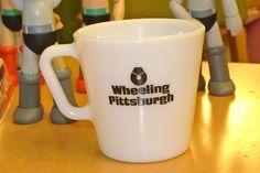 Vintage Pyrex Corning Wheeling Pittsburgh Steel Advertising Coffee Mug