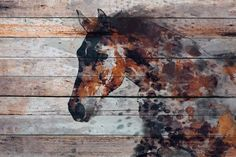 """Fire Horse. Extra Large Horse, Unique Horse Wall Decor, Brown Rustic Horse, Large Contemporary Canvas Art Print up to 72"""" by Irena Orlov Wall Art Decor for Home, Office or Hotel Farmhouse Rustic Horse…MoreMore CLICK VISIT link above for more info"""